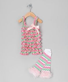 Take a look at this Pink Chevron Romper & Leg Warmers - Infant by Royal Gem Clothing on #zulily today!