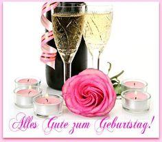 Kerzen mit Blumen Rosen: Alles Gute zum Geburtstag!