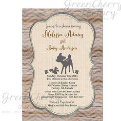 Wood Chevron Woodland Baby Shower Invitation by GreenCherryFactory, $18.00