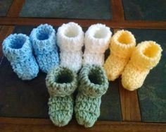crochet Baby booties by stephsyaya on Etsy Baby Goods, Crochet Baby Booties, Cool Baby Stuff, Booty, Etsy, Color, Tejidos, Swag, Colour