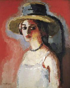 Kees van Dongen (Dutch, La femme au collier - fond rouge [Woman with Necklace - Red Background], Oil on canvas, x cm. Mini Canvas Art, Oil On Canvas, Art Fauvisme, Van Gogh Museum, Dutch Painters, Colorful Paintings, Vintage Artwork, Pop Art, French Artists