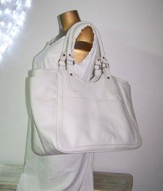 Off White Large Leather Tote / Handbag / Bag / by ChicLeather