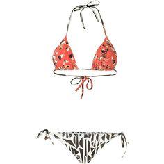 Isolda 'Guaraná' bikini set (£77) ❤ liked on Polyvore featuring swimwear, bikinis, red, red bikini swimwear, triangle swimwear, triangle swim wear, bikini two piece and red swimwear