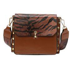 8f68f245afaf Women Handbag Leather Leopard Strap Solid Rivet Crossbody Flap Bags.  Leather Shoulder Bag ...