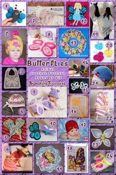 Butterflies - Animal Crochet Pattern Round Up via @beckastreasures