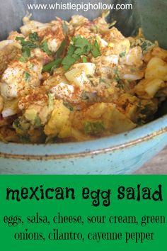Mexican Egg Salad Shared on https://www.facebook.com/LowCarbZen | #LowCarb #Eggs #Salad #Lunch