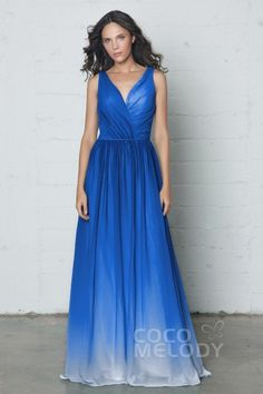 Modern Sheath-Column V-Neck Natural Floor Length Ombre Chiffon Sleeveless Open Back Dress with Pleating COZF17014