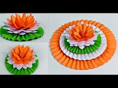 Hai Friend, Welcome To Youten Craft - Independence Day Decoration Ideas In School 15 August Decoration In this video we show simple and beautiful Lotus Flowe. Independence Day Drawing, Independence Day Activities, Independence Day Decoration, 15 August Independence Day, Flower Paper, Flower Crafts, Craft Activities, Preschool Crafts, Independent Day