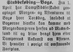 Bogø - København og retur på én dag i 1905 - dog kun om torsdagen. Udklip stillet til rådighed af Mia Gerdrup.