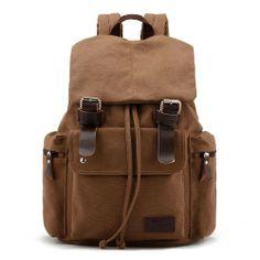 Amazon.com: Koolertron Women's men's Vintage Canvas Backpack With Top Handle Rucksack school bag Satchel Hiking bag Student: Clothing