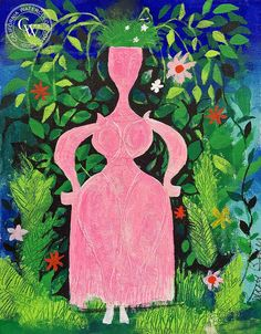 Lady in Pink, an original painting by Disney artist Mary Blair. Fine art prints on premium Arches watercolor paper are available.