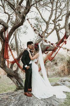 Boho wedding couple portrait at Spain destination wedding | Image by Joy Zamora