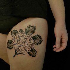 thigh flower tattoo hydrangea