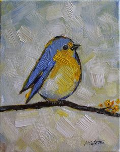 Original peinture acrylique  Happy Bird  moderne par mgotovac, $50.00