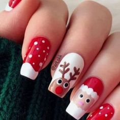 Red Christmas Nails, Xmas Nail Art, Christmas Nail Art Designs, Xmas Nails, Holiday Nails, Christmas Fun, Easy Christmas Nail Art, Reindeer Christmas, Christmas Makeup
