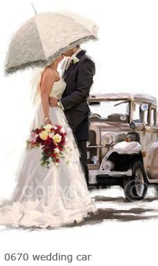 Trademark Fine Art 'Wedding Car' Canvas Art by The Macneil Studio, Size: 16 x White Wedding Images, Wedding Pictures, Wedding Cards, Wedding Day, Wedding Kiss, Just Married Auto, Illustrations Vintage, Lace Parasol, Wedding Illustration