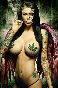 GANJA GIRL – SEXY PIN UP POSTER – 24×36 WEED POT LEAF MARIJUANA SMOKING 3487