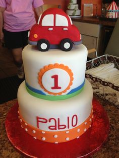 Baby boy car cake