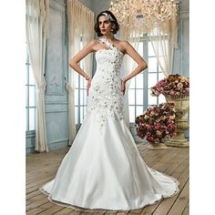 trompete / sereia um ombro vestido de noiva de tule – BRL R$ 355,10