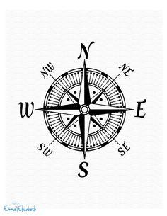 Nautical art illustration Vintage Compass Rose Art by EEartstudio