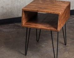 Hot Retro Mid Century Eames Era style Side table End table Nightstand Solid Wood with Hairpin Legs- for guest room nightstands Square Side Table, Oak Sideboard, Hairpin Legs, Diy Desk, End Tables, Decoration, Hair Pins, Diy Furniture, Plywood Furniture