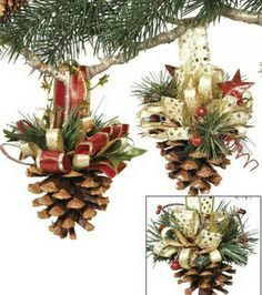Decorate your Christmas tree beautifully with the Makers Holiday Pack of 8 Pinecone Ornaments-Gold. These Christmas ornaments are crafted in the shape of pine cones to match your seasonal decor settin Pinecone Ornaments, Diy Christmas Ornaments, Christmas Projects, Holiday Crafts, Christmas Wreaths, Christmas Ideas, Pinecone Decor, Ornament Crafts, Christmas Crafts To Sell Bazaars