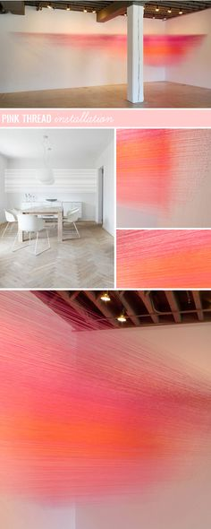 ART GOES HERE - thread installation, by anne lindberg, in a dining room  (on @sfgirlbybay / victoria smith today)