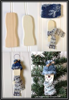 using the top of a paint stirrer stick, make snowman ornies!  be sure to check out her paint stick ornies.  PERFECTION