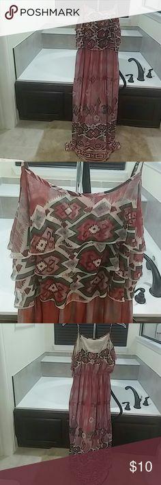 Pretty maxi dress Cute spaghetti strapped ruffletop maxi dress with an Aztec print worn once. Like new She's Cool Dresses Maxi