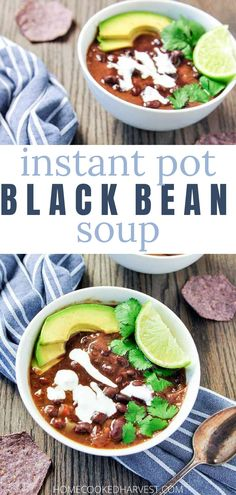 Black Bean Soup is a hearty, but simple recipe that is perfect for those chilly winter nights. Instant Pot Black Bean Soup comes together quickly because of the use of canned black bean and the pressure cooker. Healthy Soup Recipes, Lunch Recipes, Easy Dinner Recipes, Vegetarian Recipes, Dinner Ideas, Easy Dinners, Meal Ideas, Delicious Recipes, Vegan Vegetarian
