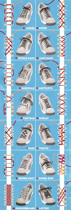 to School} Great how to graphic on how to tie shoe laces Cool ways to lace up your shoes! Cool ways to lace up your shoes! Ways To Lace Shoes, How To Tie Shoes, Your Shoes, Men's Shoes, Dress Shoes, How To Lace Converse, Nike Shoes, Zapatos Shoes, White Converse