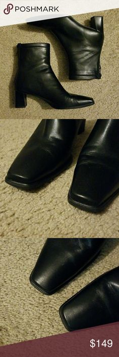 """Stuart Weitzman Classic Black leather ankle boots Stuart Weitzman Classic Black leather ankle boots booties  Size 7.5  Black soft leather upper Low chunky stacked heel 2.5"""" heels Back zipper  Excellent condition Stuart Weitzman Shoes Ankle Boots & Booties"""