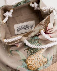 Tropical Floral Pineapple Back Pack Jute by theAtlanticOcean
