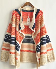 Beige Long Sleeve Tribal Pattern Asymmetrical Cardigan US$36.72