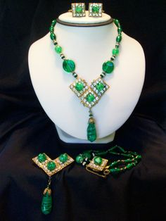 Miriam Haskell   Spectacular Green glass Bead Suite from My Personal Collection