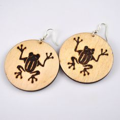 Pyrography frog earrings woodburned froggy jewelry wood by PikLus