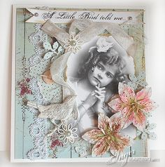 Inger Harding Vintage / Shabby Chic Greetings Card, so pretty for a hand made girl's greetings card using vintage sepia images