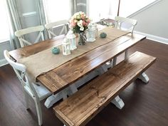 Farmhouse dining table and bench farmhouse table bench home ideas decor farmhouse dining table bench plans . farmhouse dining table and bench Stained Table, Farmhouse Table Plans, Farmhouse Table With Bench, Kitchen Table Centerpiece, Rustic Kitchen, Kitchen Decor, Kitchen Table Decor, Kitchen Table Chairs, Dining Table