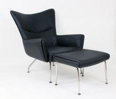 Black Lounge Chair and Ottoman Set