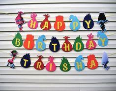 Trolls Birthday Party Banner - Trolls Banner - Personalized Trolls Birthday Banner - Trolls Party Decorations - Trolls Sign