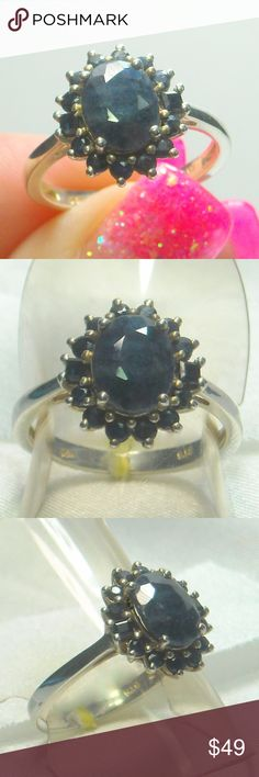 NWT Natural Blue Sapphire Ring Natural Blue Sapphire 7x9mm Ring,  Platinum Plated .925 Sterling Silver Size 7 Jewelry Rings