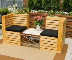 Pallet Bench with Center Table. Pallet Bench with Center Table. The post Pallet Bench with Center Table. appeared first on Pallet Ideas. Pallet Chair, Wooden Pallet Furniture, Wooden Pallets, Furniture Plans, Furniture Making, Outdoor Furniture Sets, Pallet Wood, Garden Furniture, Garden Chairs