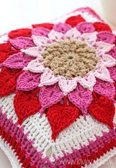 Crochet Crocodile Flower Cushion in pink & red on Ravelry