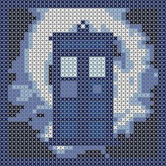 Tardis in vortex, cross stitch pattern, would be great as an ornament or in Hama Perler Beads. Free pattern. Doctor Who xstitch