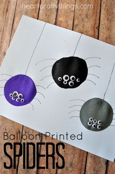 Get out some balloons and kids will have fun making this Balloon Print Spider Craft for Kids. Great Halloween kids craft, preschool craft and fall kids craft.