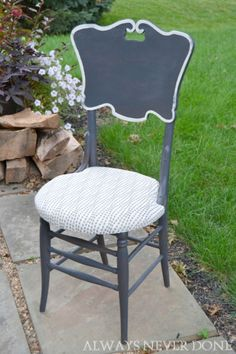 Annie Sloan Chalk Paint, watered down Graphite, Old White trim. Upholstery added to timber chair seat.