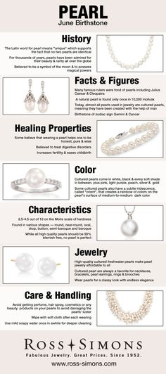 Learn about the history, facts, healing properties, color, characteristics and how to care for June's Birthstone, Pearl.