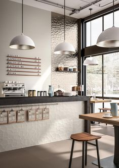 Design/ Interieur Tiles for contract use: design ideas with ceramics and porcelain stoneware - Maraz Cafe Shop Design, Coffee Shop Interior Design, Restaurant Interior Design, Small Cafe Design, Coffee Cafe Interior, Cozy Coffee Shop, Small Coffee Shop, Coffee Shops, Rustic Coffee Shop