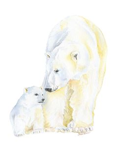 Mama bear and cubwatercolor giclée reproduction.Portrait/vertical orientation. What a sweetprint in your nursery or play room. Printed on fine art paper usi