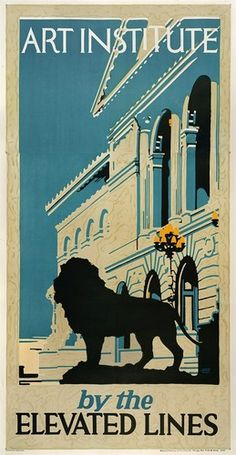 Art Institute by the Elevated Rail Lines Chicago vintage railroad travel poster   eBay